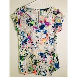 Express Cap Sleeve Back Zip Floral Blouse